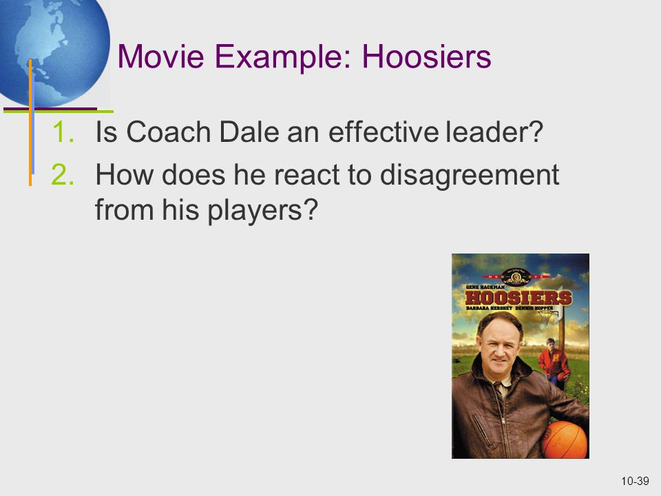 10-39 Movie Example: Hoosiers 1.Is Coach Dale an effective leader.