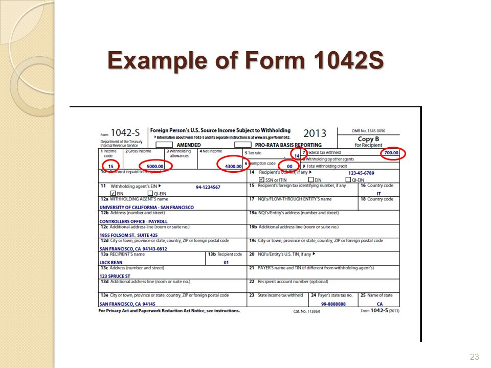 Example of Form 1042S 23