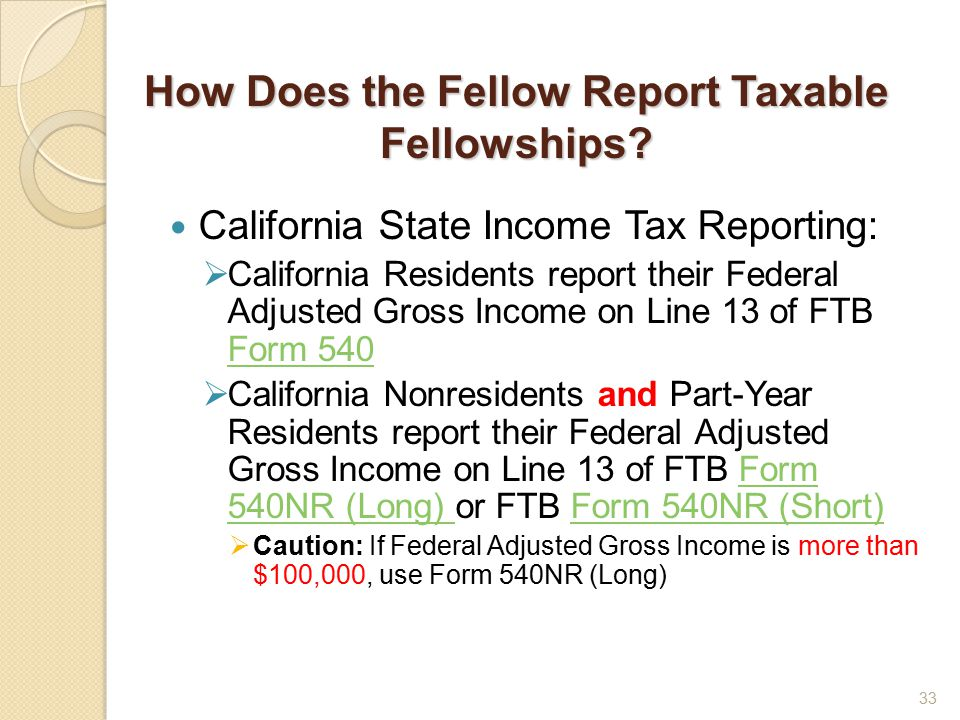 How Does the Fellow Report Taxable Fellowships.