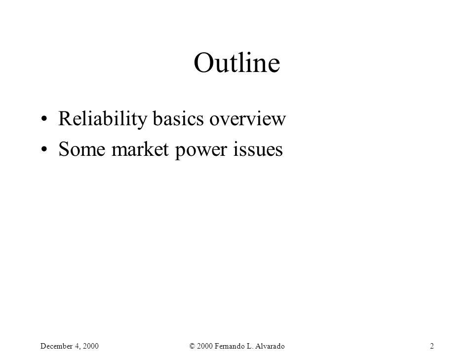 December 4, 2000© 2000 Fernando L. Alvarado2 Outline Reliability basics overview Some market power issues