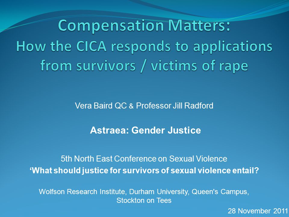Vera Baird QC & Professor Jill Radford Astraea: Gender Justice 5th North East Conference on Sexual Violence 'What should justice for survivors of sexual violence entail.