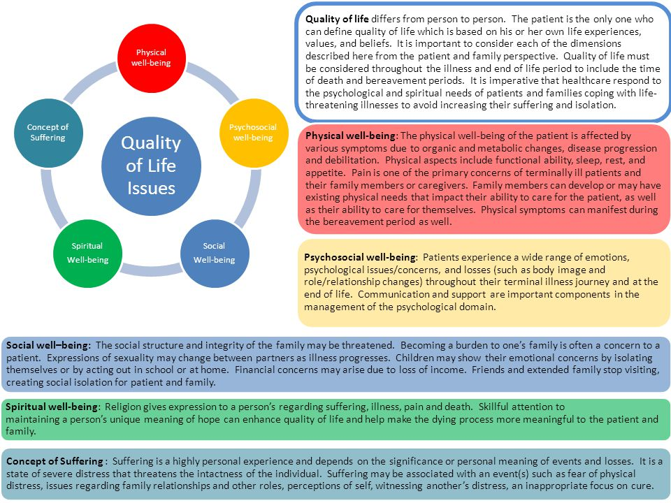 Quality of Life Issues Physical well-being Psychosocial well-being Social Well-being Spiritual Well-being Concept of Suffering Quality of life differs from person to person.