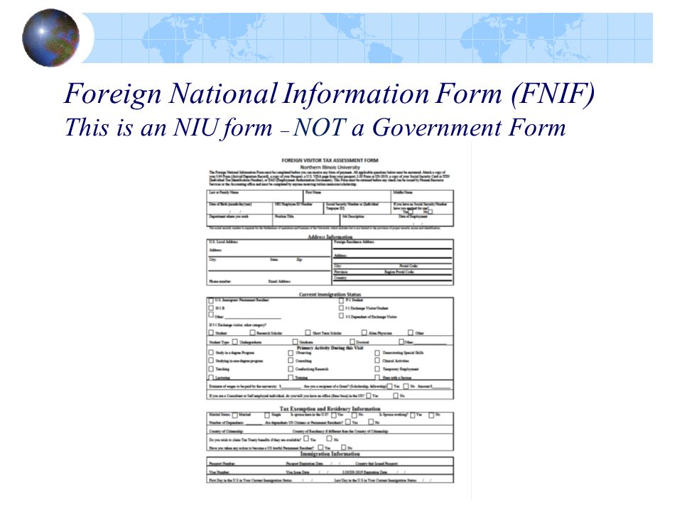 Foreign National Information Form (FNIF) This is an NIU form – NOT a Government Form