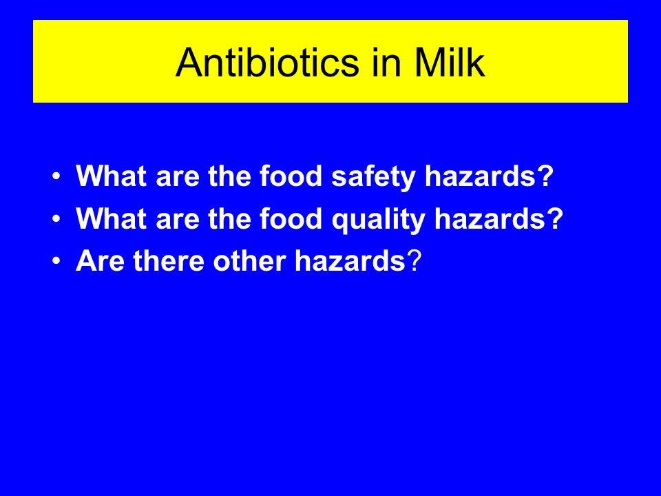 Antibiotics in Milk What are the food safety hazards.