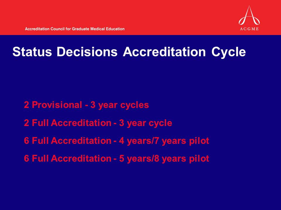 Status Decisions Accreditation Cycle 2 Provisional - 3 year cycles 2 Full Accreditation - 3 year cycle 6 Full Accreditation - 4 years/7 years pilot 6 Full Accreditation - 5 years/8 years pilot