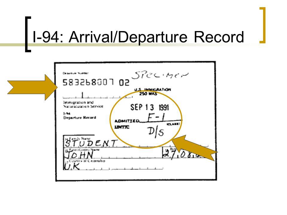 I-94: Arrival/Departure Record