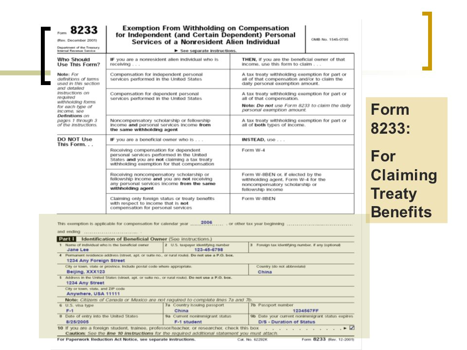 Form 8233: For Claiming Treaty Benefits