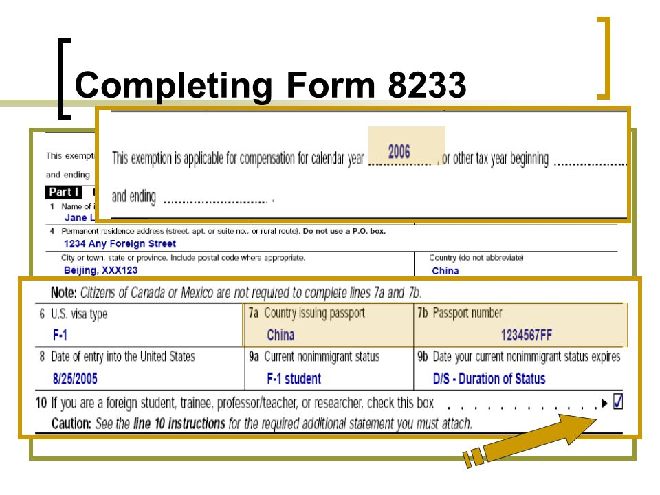 Form 8233: For Claiming Treaty Benefits Completing Form 8233