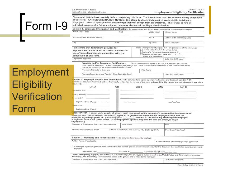 Form I-9 Employment Eligibility Verification Form