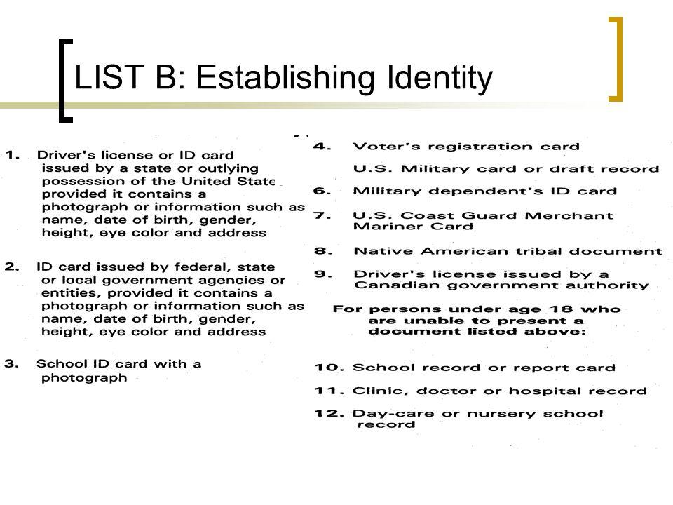 LIST B: Establishing Identity