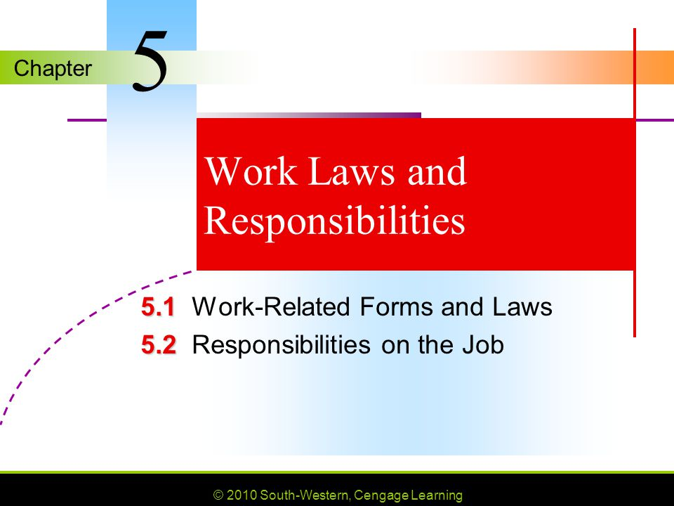 Chapter © 2010 South-Western, Cengage Learning Work Laws and Responsibilities Work-Related Forms and Laws Responsibilities on the Job 5