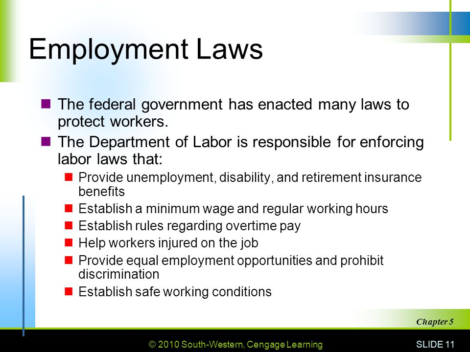 © 2010 South-Western, Cengage Learning SLIDE 11 Chapter 5 Employment Laws The federal government has enacted many laws to protect workers.
