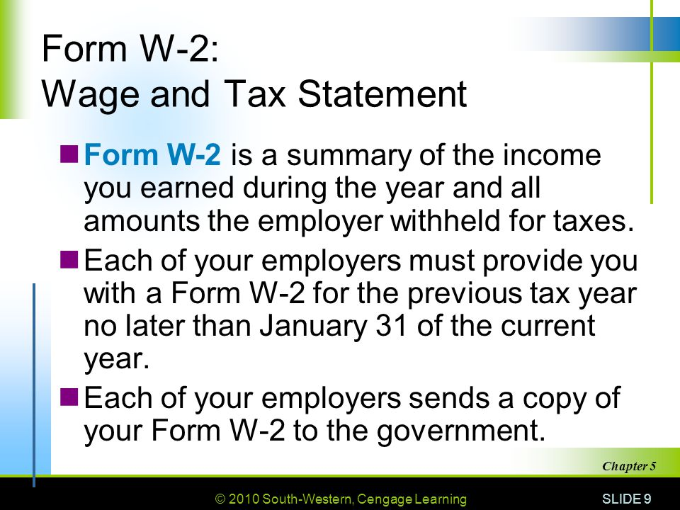 © 2010 South-Western, Cengage Learning SLIDE 9 Chapter 5 Form W-2: Wage and Tax Statement Form W-2 is a summary of the income you earned during the year and all amounts the employer withheld for taxes.