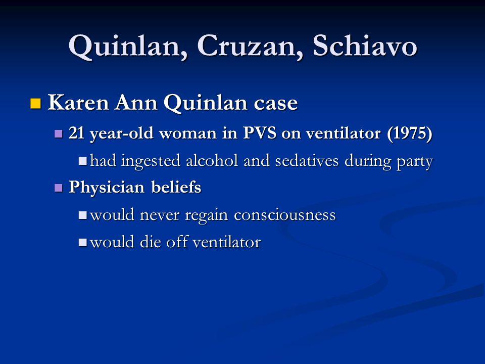 Quinlan, Cruzan, Schiavo Karen Ann Quinlan case Karen Ann Quinlan case 21 year-old woman in PVS on ventilator (1975) 21 year-old woman in PVS on venti