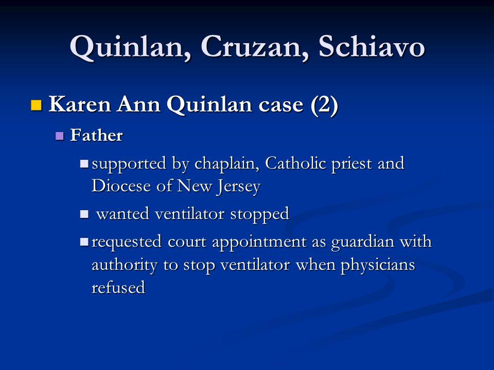Quinlan, Cruzan, Schiavo Karen Ann Quinlan case (2) Karen Ann Quinlan case (2) Father Father supported by chaplain, Catholic priest and Diocese of New