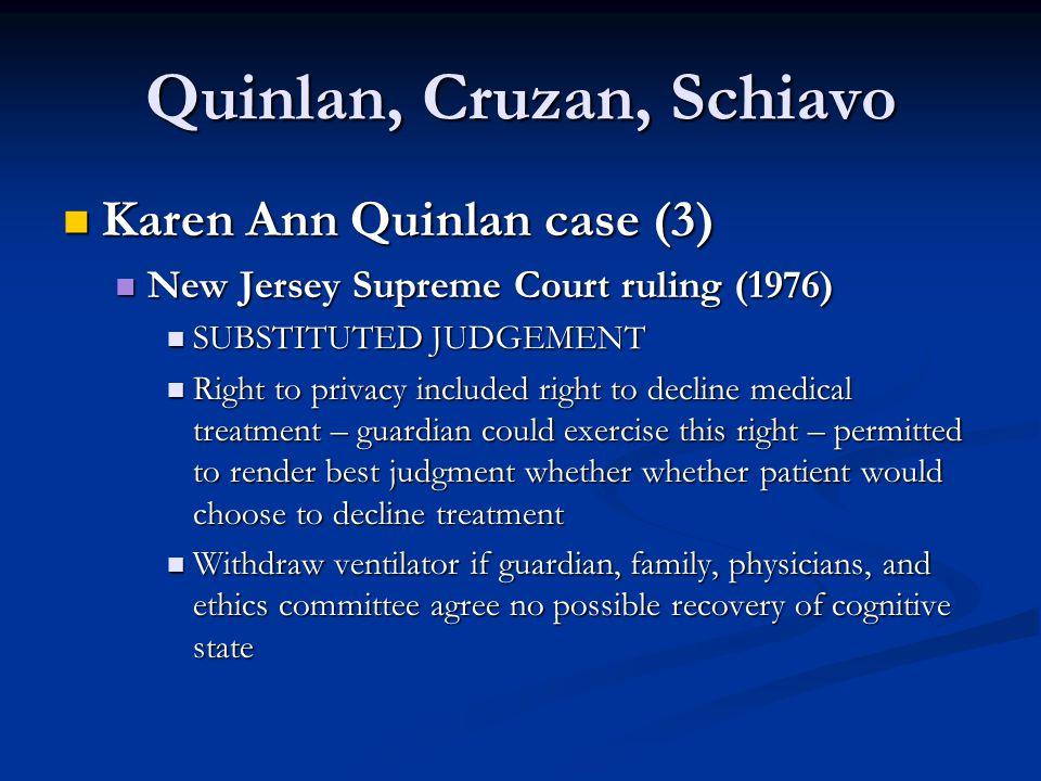 Quinlan, Cruzan, Schiavo Karen Ann Quinlan case (3) Karen Ann Quinlan case (3) New Jersey Supreme Court ruling (1976) New Jersey Supreme Court ruling