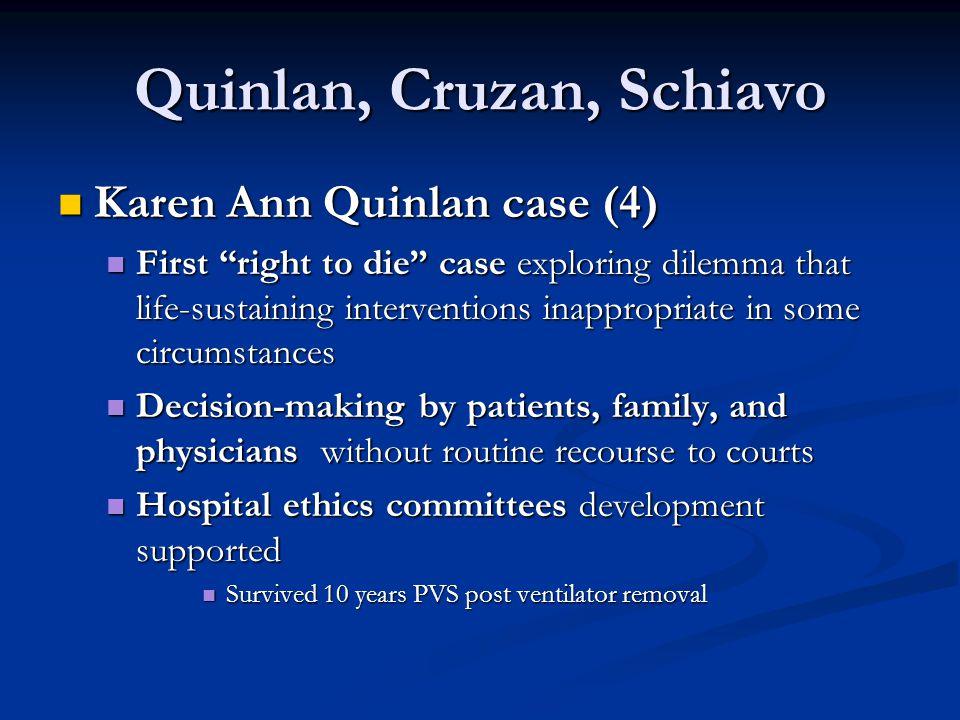 "Quinlan, Cruzan, Schiavo Karen Ann Quinlan case (4) Karen Ann Quinlan case (4) First ""right to die"" case exploring dilemma that life-sustaining interv"