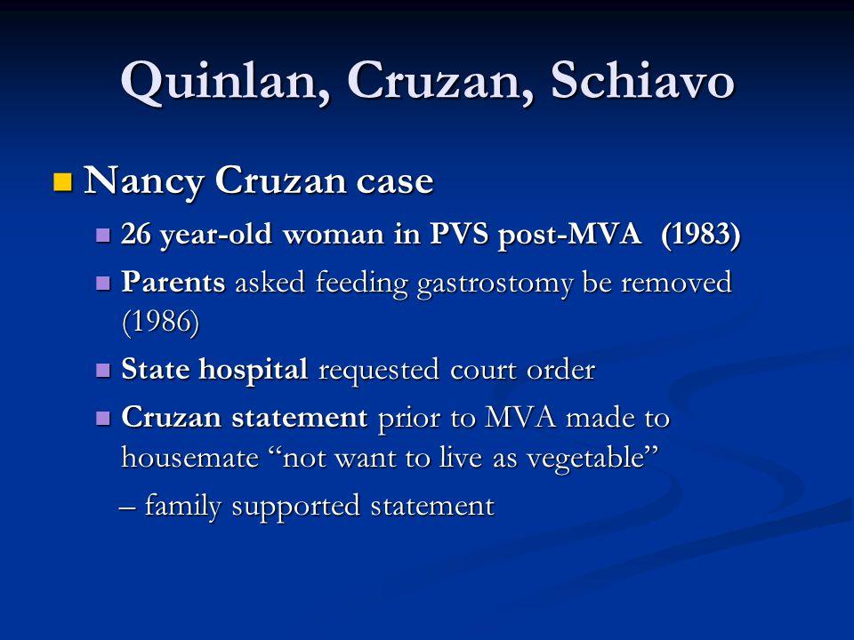 Quinlan, Cruzan, Schiavo Nancy Cruzan case Nancy Cruzan case 26 year-old woman in PVS post-MVA (1983) 26 year-old woman in PVS post-MVA (1983) Parents