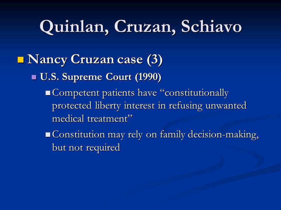 "Quinlan, Cruzan, Schiavo Nancy Cruzan case (3) Nancy Cruzan case (3) U.S. Supreme Court (1990) U.S. Supreme Court (1990) Competent patients have ""cons"