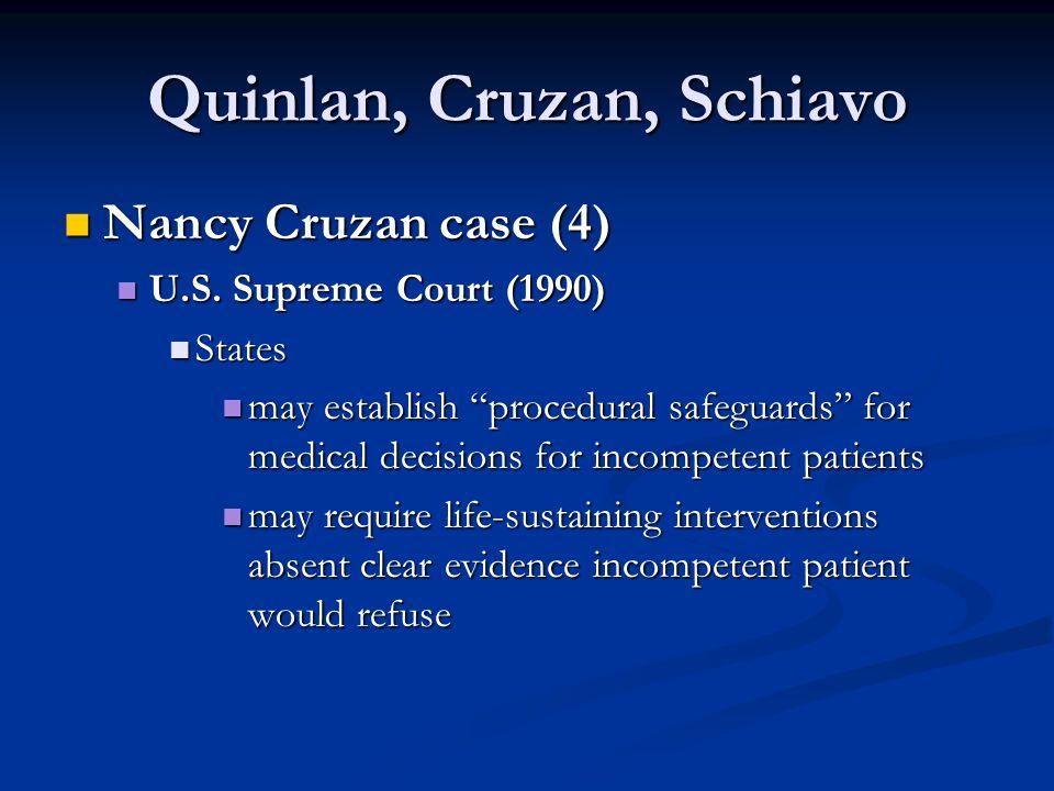 "Quinlan, Cruzan, Schiavo Nancy Cruzan case (4) Nancy Cruzan case (4) U.S. Supreme Court (1990) U.S. Supreme Court (1990) States States may establish """