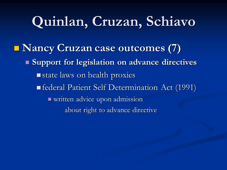 Quinlan, Cruzan, Schiavo Nancy Cruzan case outcomes (7) Nancy Cruzan case outcomes (7) Support for legislation on advance directives Support for legis