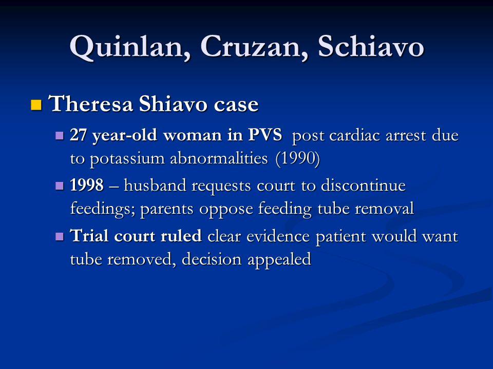 Quinlan, Cruzan, Schiavo Theresa Shiavo case Theresa Shiavo case 27 year-old woman in PVS post cardiac arrest due to potassium abnormalities (1990) 27