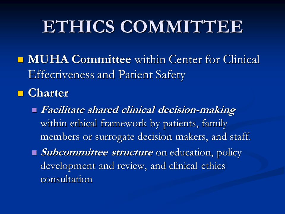 Ethics Consultation Service Service branch of the Ethics Committee Service branch of the Ethics Committee Multiprofessional group Multiprofessional group Nurses, physicians, chaplains, community representatives, an attorney, other clinicians Nurses, physicians, chaplains, community representatives, an attorney, other clinicians PROVIDING HELP FOR DIFFICULT AND COMPLEX PATIENT CARE DECISIONS PROVIDING HELP FOR DIFFICULT AND COMPLEX PATIENT CARE DECISIONS Providing help with professional conflicts Providing help with professional conflicts