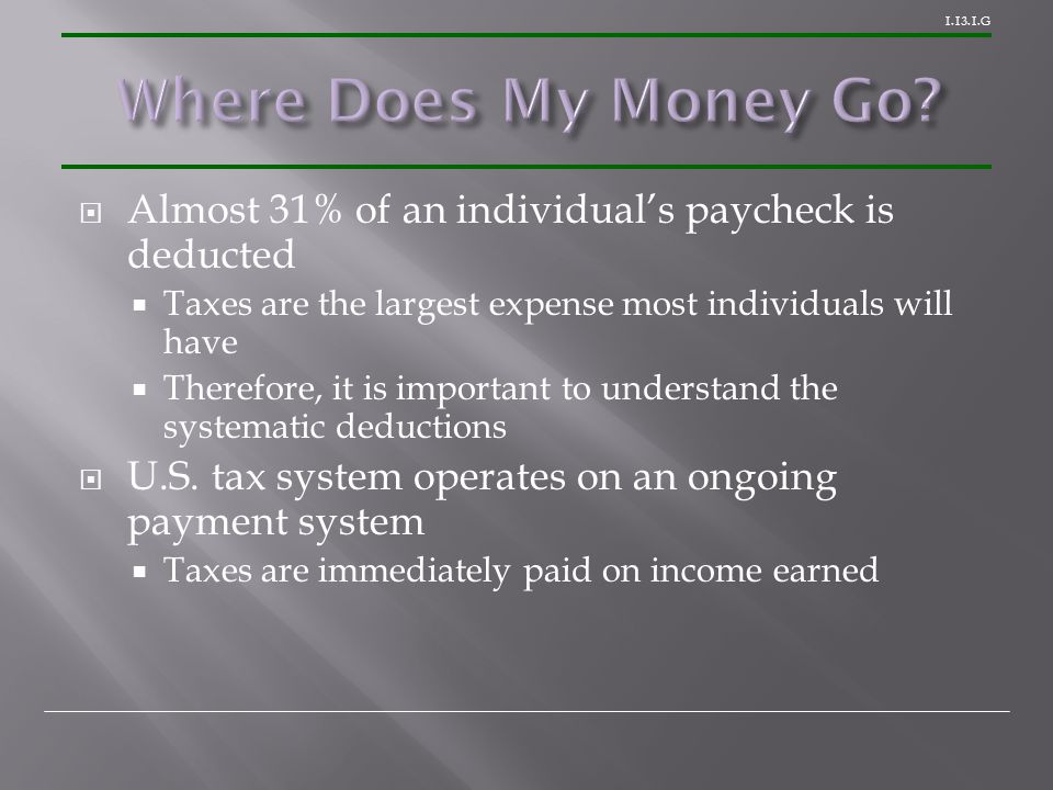 1.13.1.G  Almost 31% of an individual's paycheck is deducted  Taxes are the largest expense most individuals will have  Therefore, it is important