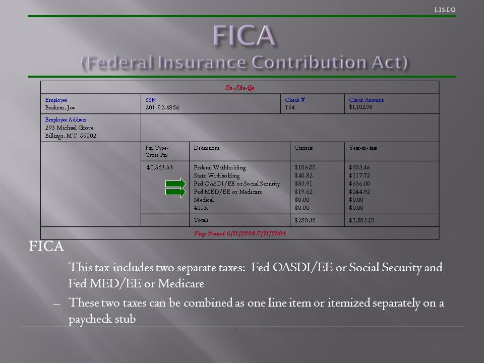 1.13.1.G FICA –This tax includes two separate taxes: Fed OASDI/EE or Social Security and Fed MED/EE or Medicare –These two taxes can be combined as one line item or itemized separately on a paycheck stub