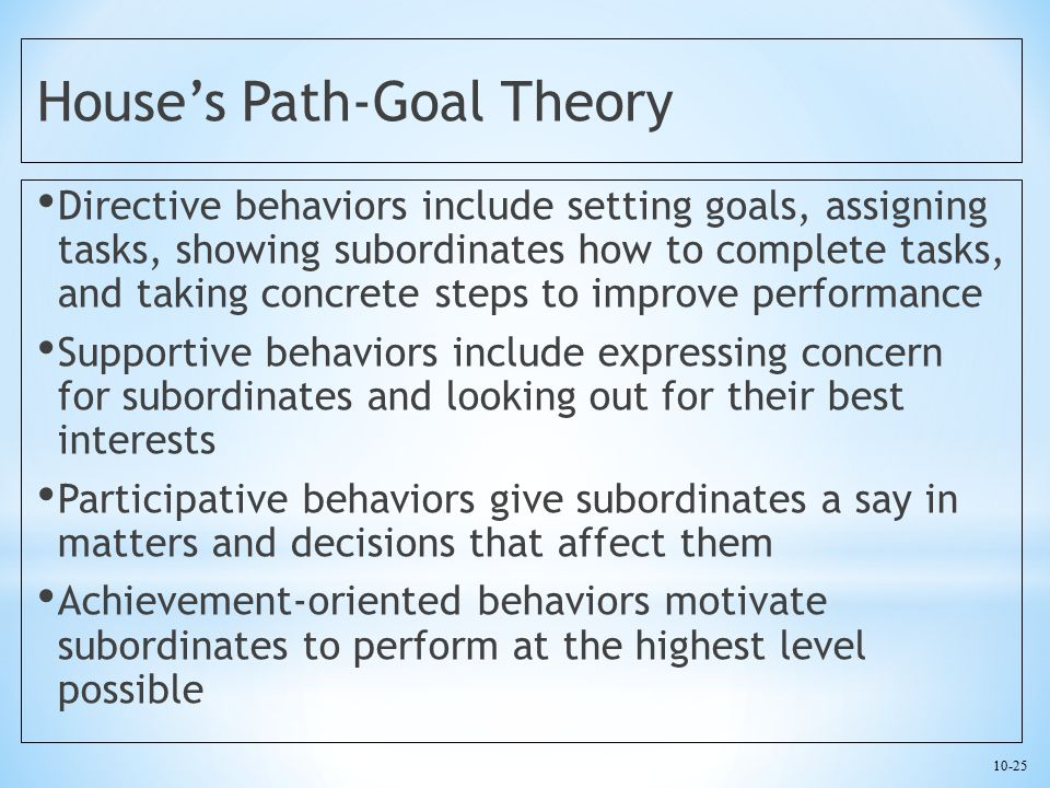 10-25 House's Path-Goal Theory Directive behaviors include setting goals, assigning tasks, showing subordinates how to complete tasks, and taking conc