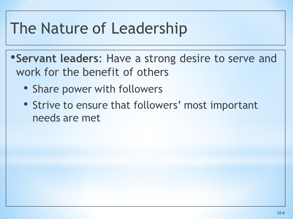 10-27 Transformational Leadership Makes subordinates aware of the importance of their jobs and performance to the organization by providing feedback to the worker Makes subordinates aware of their own needs for personal growth and development Motivates workers to work for the good of the organization, not just themselves