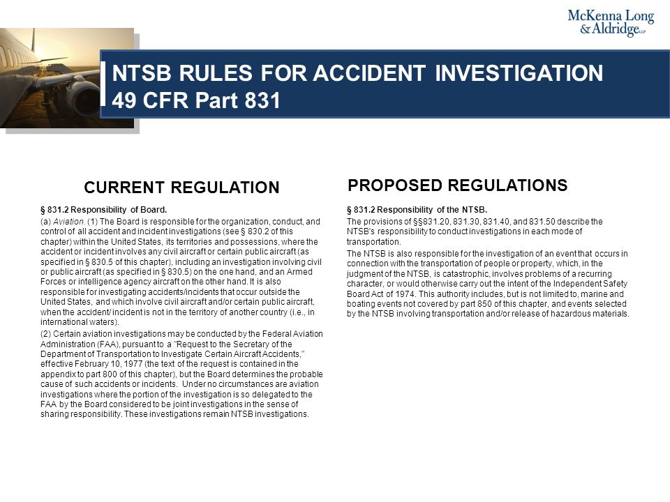 PROPOSED REGULATIONS §831.30 Responsibility of NTSB in highway Investigations.
