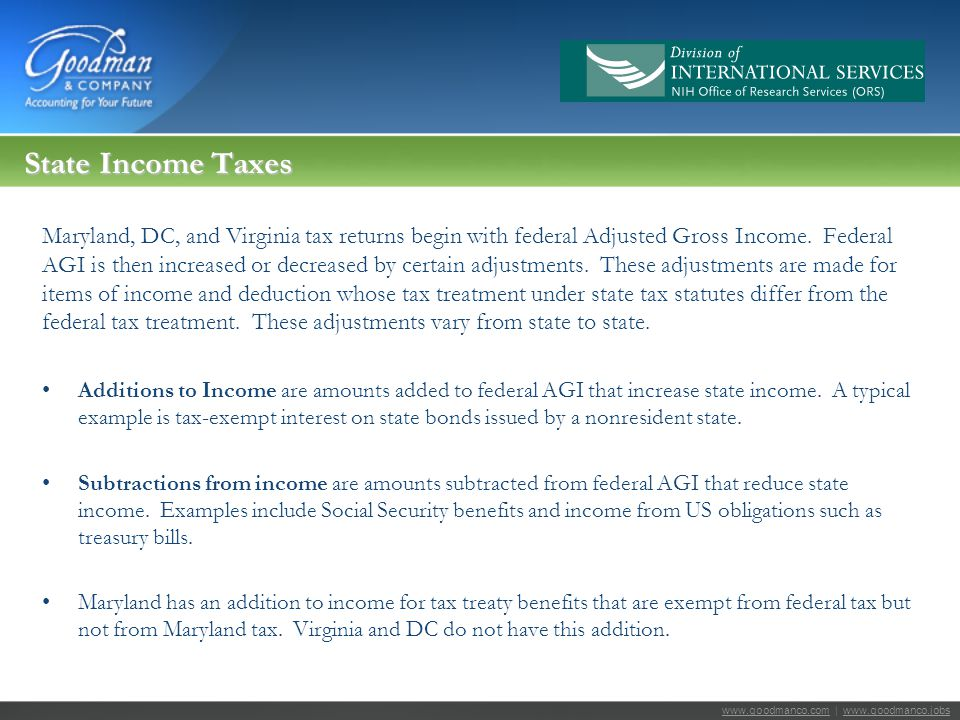 www.goodmanco.comwww.goodmanco.com | www.goodmanco.jobswww.goodmanco.jobs State Income Taxes Maryland, DC, and Virginia tax returns begin with federal Adjusted Gross Income.