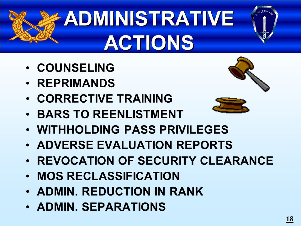 17 COMMANDER'S DISCIPLINARY OPTIONS: ADMINISTRATIVE ACTION NONJUDICIAL PUNISHMENT COURT-MARTIAL COMMANDER'S DISCIPLINARY OPTIONS: ADMINISTRATIVE ACTION NONJUDICIAL PUNISHMENT COURT-MARTIAL