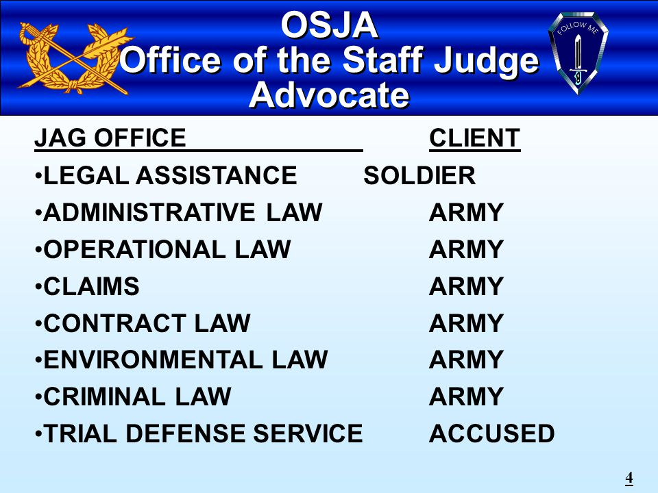 3 OVERVIEW Sources of Military Law Military Jurisdiction Search & Seizure Interrogations & Soldiers' Rights Administrative Action Non Judicial Punishment Court-Martial Process Crimes & Related Misconduct Homosexual Policy Fraternization