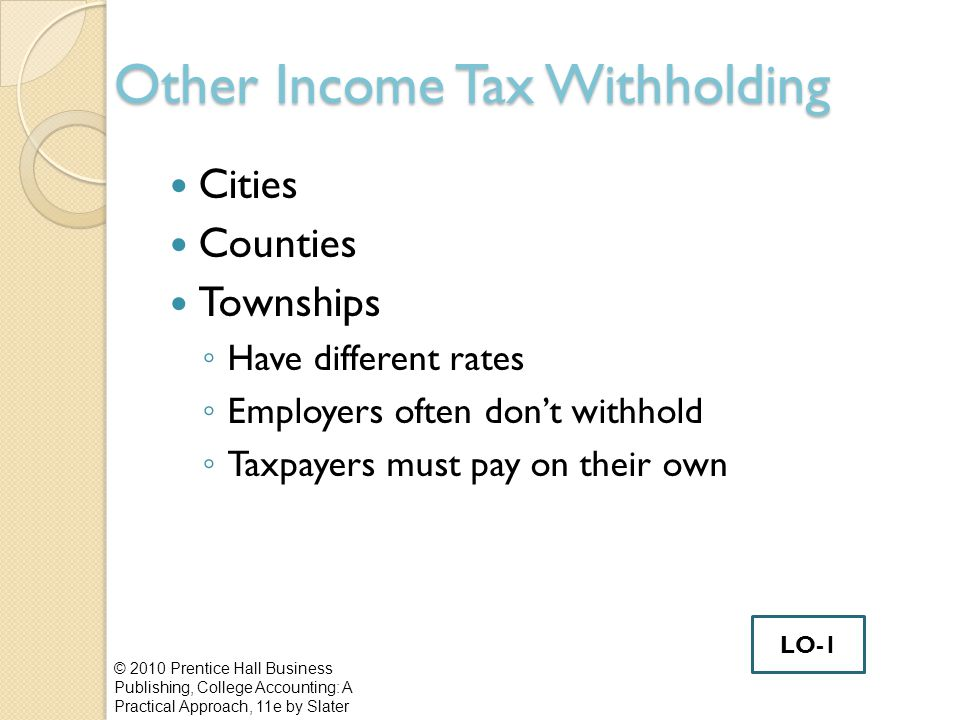 Other Income Tax Withholding Cities Counties Townships ◦ Have different rates ◦ Employers often don't withhold ◦ Taxpayers must pay on their own © 2010 Prentice Hall Business Publishing, College Accounting: A Practical Approach, 11e by Slater LO-1