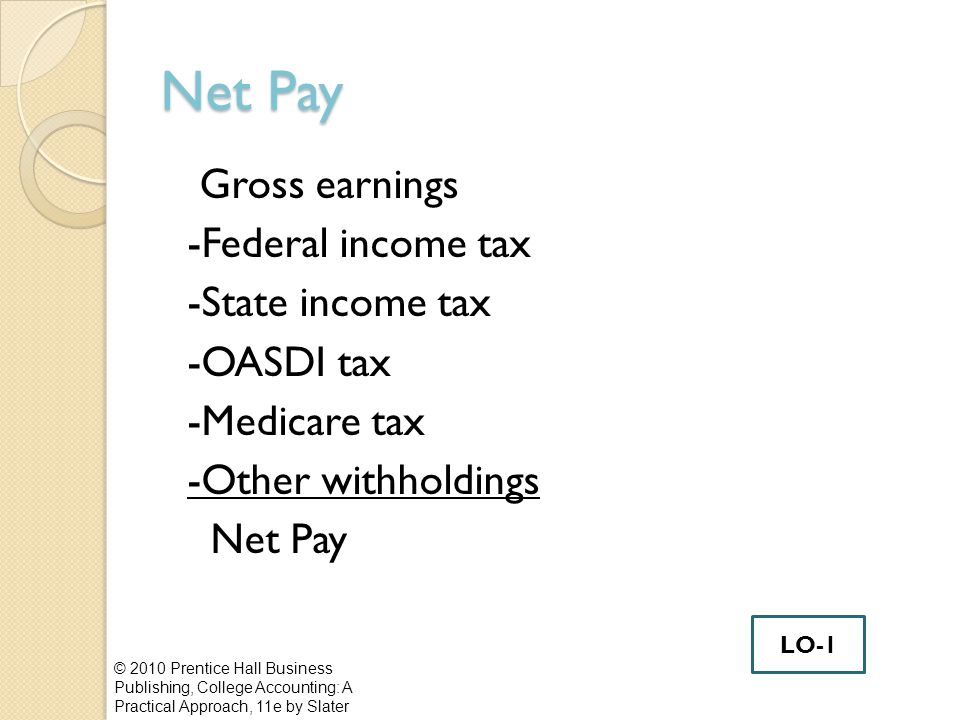 Net Pay Gross earnings -Federal income tax -State income tax -OASDI tax -Medicare tax -Other withholdings Net Pay © 2010 Prentice Hall Business Publishing, College Accounting: A Practical Approach, 11e by Slater LO-1
