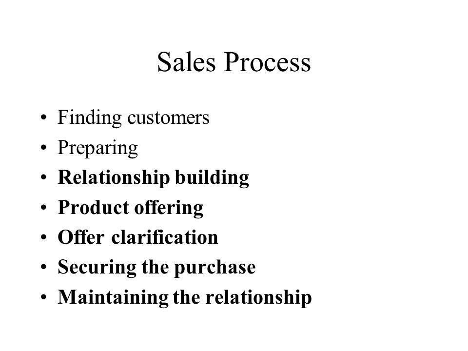 Sales Process Finding customers Preparing Relationship building Product offering Offer clarification Securing the purchase Maintaining the relationship