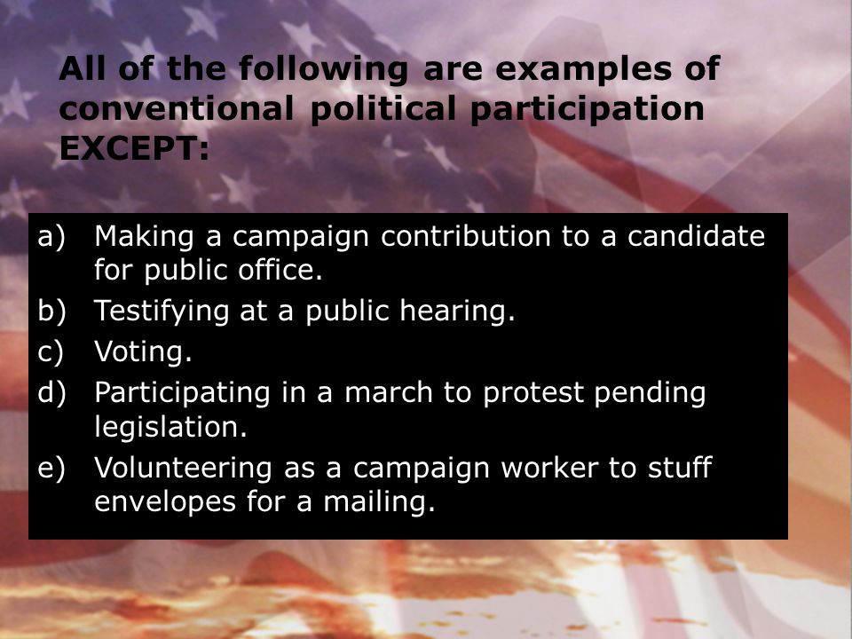 All of the following are examples of conventional political participation EXCEPT: a)Making a campaign contribution to a candidate for public office. b