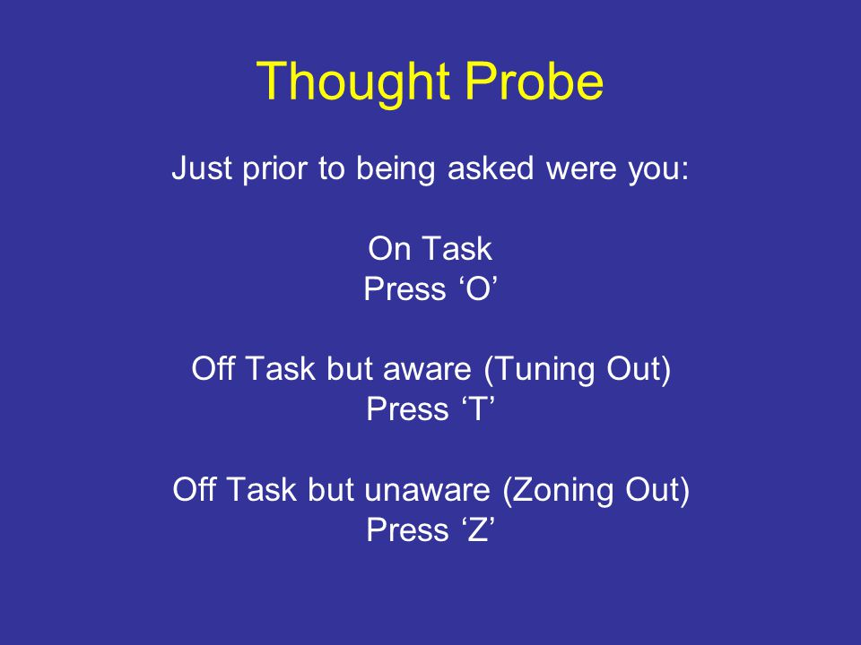 Thought Probe Just prior to being asked were you: On Task Press 'O' Off Task but aware (Tuning Out) Press 'T' Off Task but unaware (Zoning Out) Press