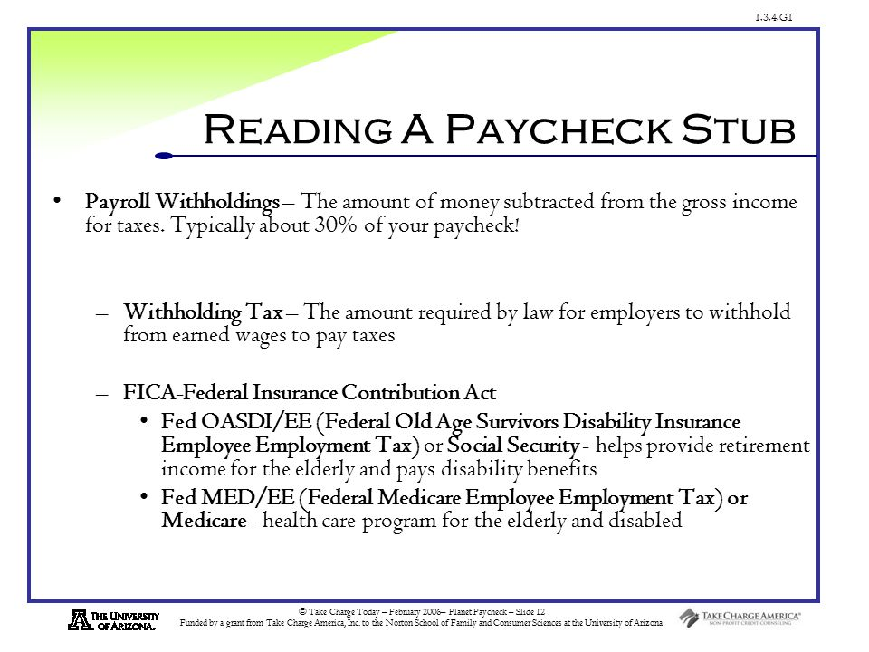 1.3.4.G1 © Take Charge Today – February 2006– Planet Paycheck – Slide 12 Funded by a grant from Take Charge America, Inc.