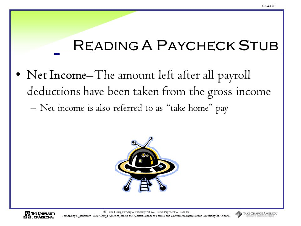 1.3.4.G1 © Take Charge Today – February 2006– Planet Paycheck – Slide 13 Funded by a grant from Take Charge America, Inc.
