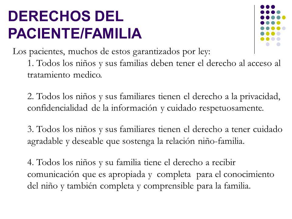 v DERECHOS DEL PACIENTE/FAMILIA Los pacientes, muchos de estos garantizados por ley: 1.
