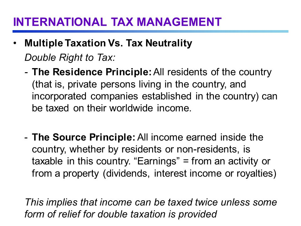 Multiple Taxation Vs.