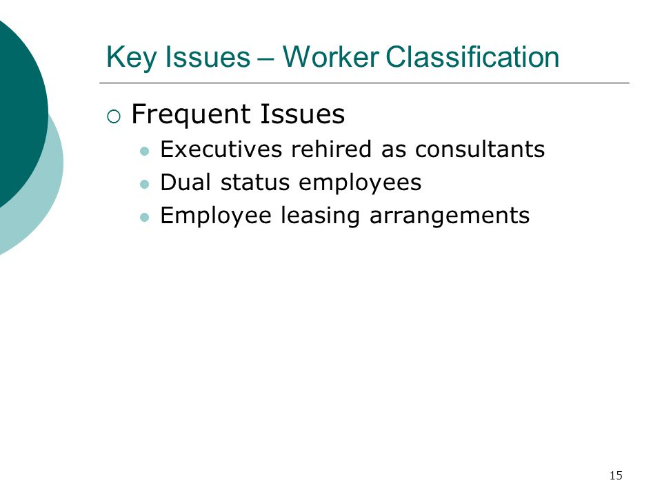 15 Key Issues – Worker Classification  Frequent Issues Executives rehired as consultants Dual status employees Employee leasing arrangements