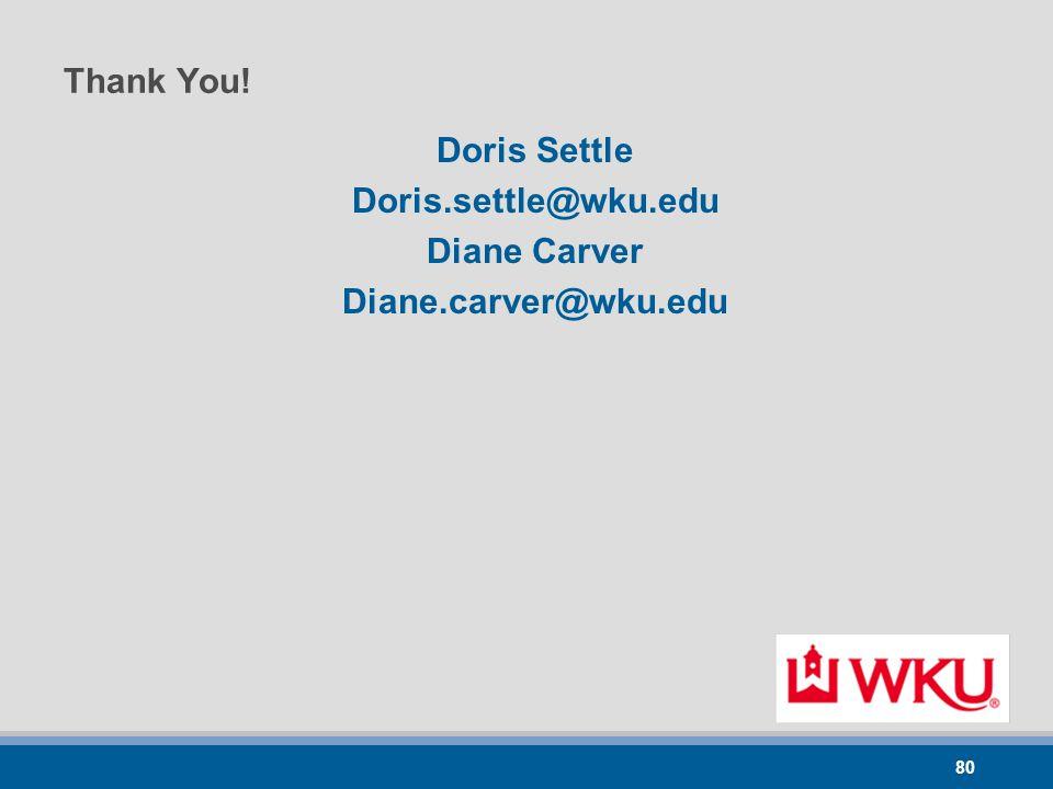80 Thank You! Doris Settle Doris.settle@wku.edu Diane Carver Diane.carver@wku.edu