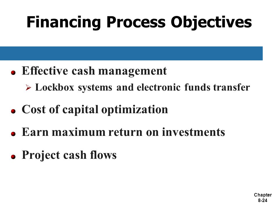 Chapter 8-24 Financing Process Objectives Effective cash management  Lockbox systems and electronic funds transfer Cost of capital optimization Earn