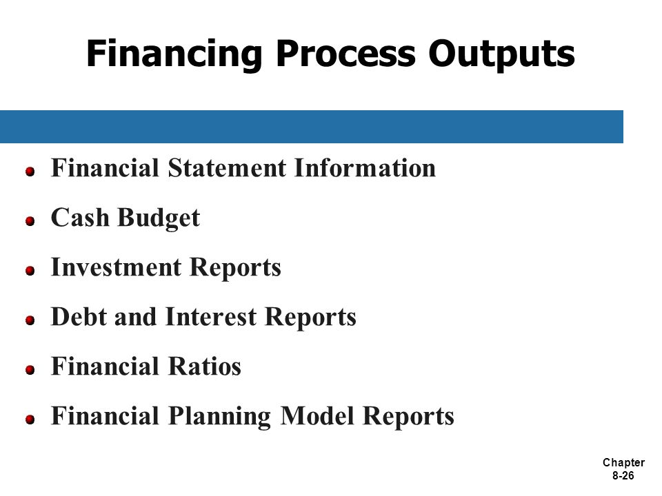 Chapter 8-26 Financing Process Outputs Financial Statement Information Cash Budget Investment Reports Debt and Interest Reports Financial Ratios Finan