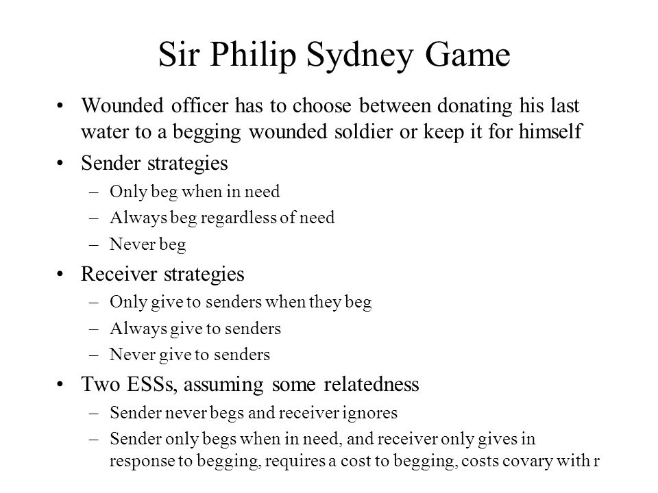 Sir Philip Sydney Game Wounded officer has to choose between donating his last water to a begging wounded soldier or keep it for himself Sender strate