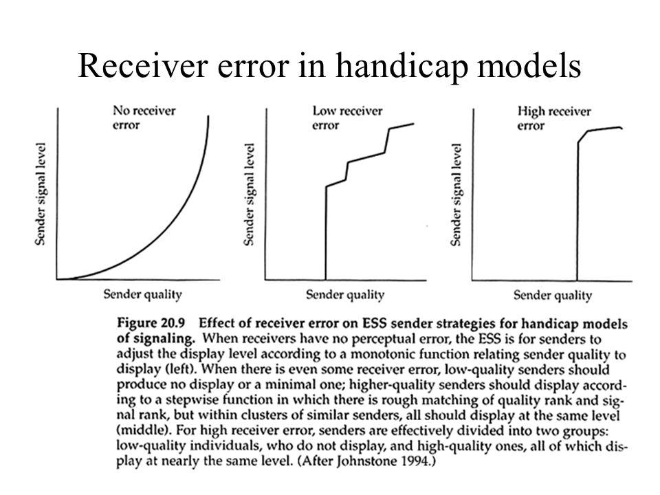 Receiver error in handicap models